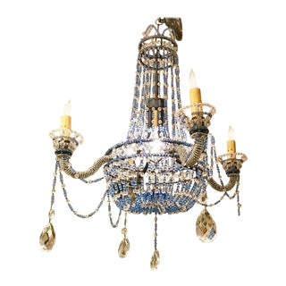Venetian Blue Beaded Glass and Crystal Four-Arm Chandelier