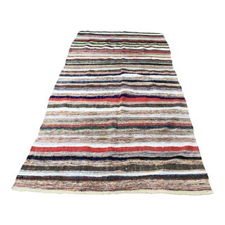 1960s Bohemian Colorful Cotton Kilim Rug For Sale