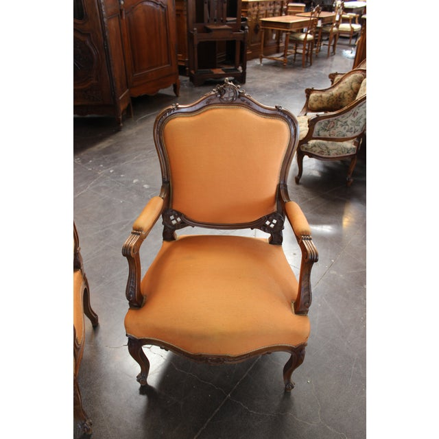 French Antique Louis XV Style Armchair - a Pair For Sale - Image 3 of 13