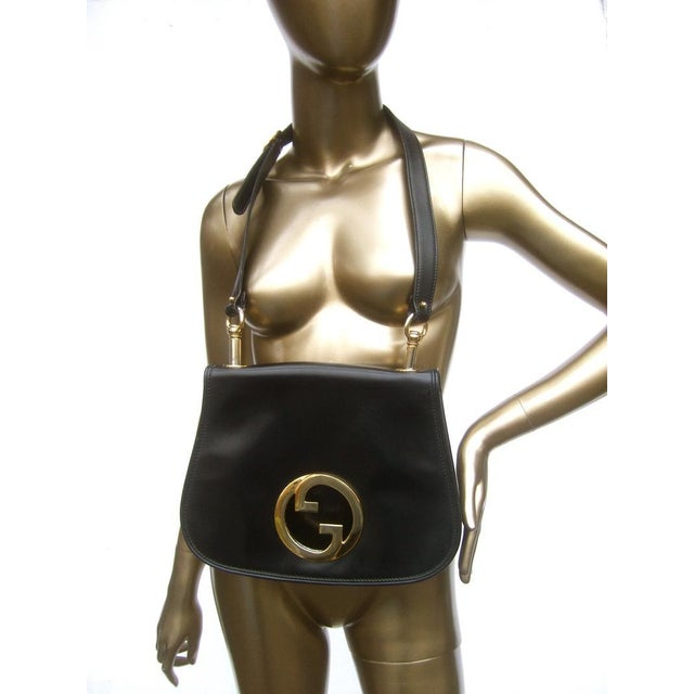 1970s Gucci Italy Ebony Leather Blondie Shoulder Bag For Sale - Image 10 of 11