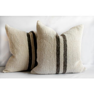 Vintage Grainsack and Linen Pillows With Dark Brown Stripes Preview