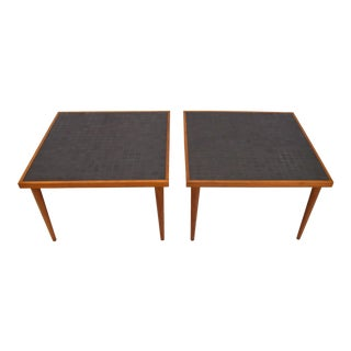 Pair of Martz Walnut and Tile End Tables for Marshall Studios For Sale