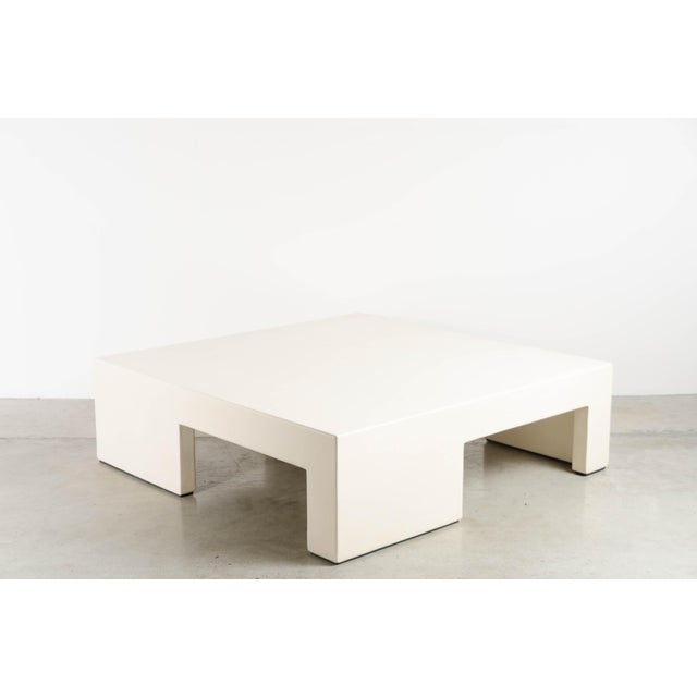 Low Square Table with Alternate Legs Cream Lacquer Hand Made Wood Base Limited Edition Each piece is individually crafted...