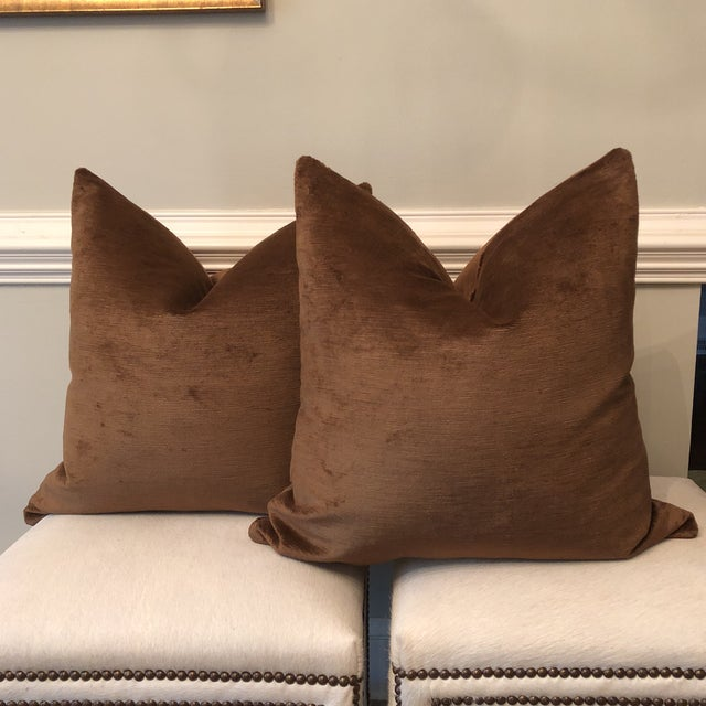 "22"" Chocolate Linen Velvet Pillows - A Pair - Image 2 of 5"