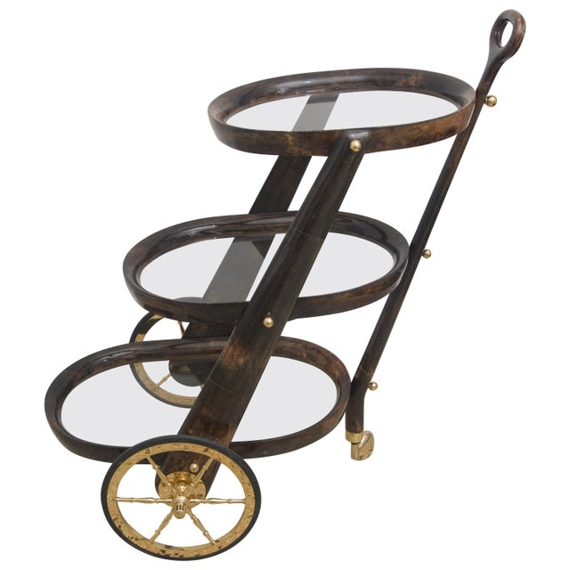 Mid-Century Modern Goat Skin Bar Cart by Aldo Tura For Sale - Image 9 of 9