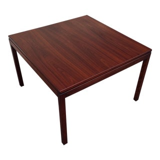 Mid Century Modern Jens Risom Refinished Walnut Square Coffee Table For Sale