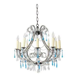 Early 21rst Century Aurora Grande Medium Short Aqua Crystal Chandelier For Sale