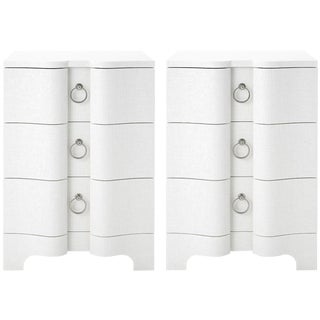 Bungalow 5 Bardot 3-Drawer Side Tables, White Grasscloth – a Pair For Sale