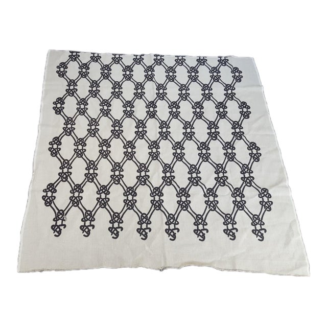 Schumacher Gordian Weave Ebony on Greige Fabric For Sale