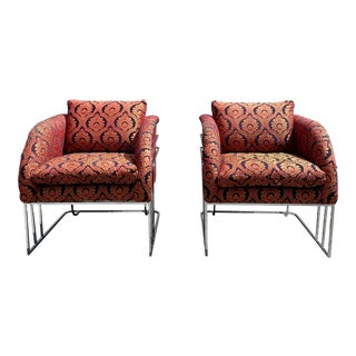 Chrome and Velvet Milo Baughman for Thayer Coggin Sculpture Chairs - a Pair For Sale