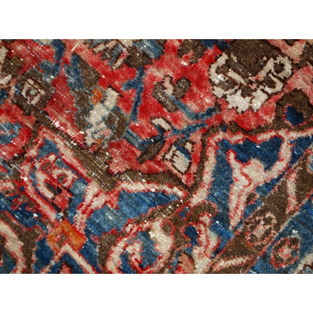 Textile 1900s, Handmade Antique Persian Mahal Distressed Rug 4.6' X 6.5' For Sale - Image 7 of 10