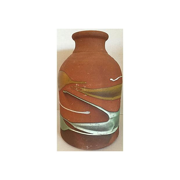 Partially Glazed Artistic Pottery Bottle For Sale - Image 5 of 6