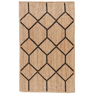 Nikki Chu by Jaipur Living Aten Natural Trellis Beige / Black Area Rug - 9′ × 12′ For Sale