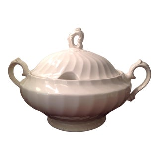 English Large Round Covered Swirl Pattern Tureen For Sale