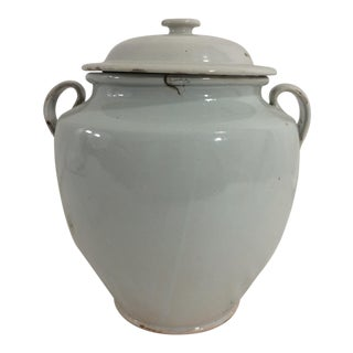 French White Glazed Conserve Pot For Sale
