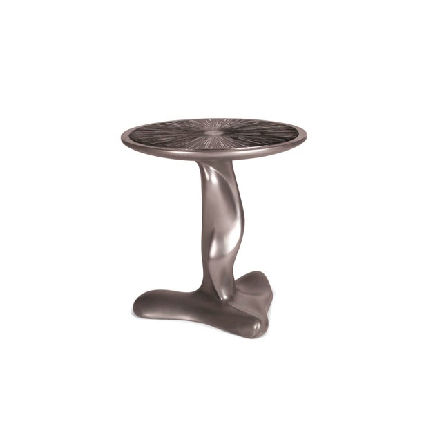 Helios Side Table Silver Finish With Silver Leaf on Lacquer on Top Made by Amorph. Available in different finishes and sizes.