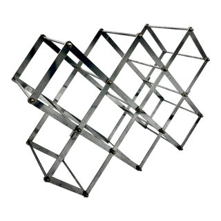 Mid-Century Chrome Accordion Wine Rack For Sale