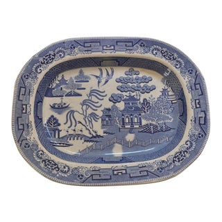 19th Century Staffordshire Blue Willow Platter For Sale