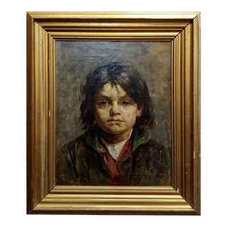 Portrait of a Brat - 19th Century German Oil Painting For Sale