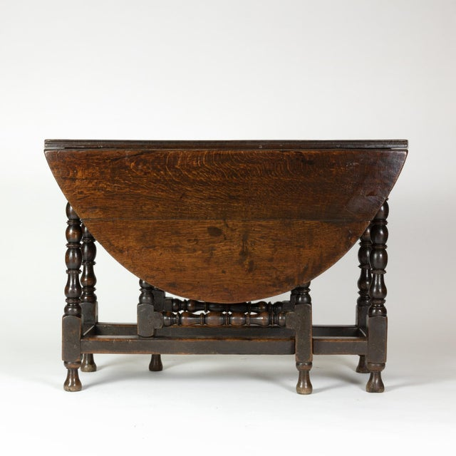 English Traditional Handsome English Oak Gateleg Table With Bobbin Turned Legs, Wonderfully Rich Patination, Circa 1800. For Sale - Image 3 of 13