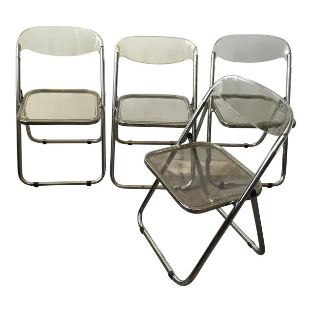 Italian Lucite & Chrome Folding Chairs - Set of 4 - Image 1 of 7