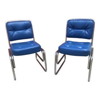 1950s Mid-Century Modern Chrome and Blue Dining Chairs - a Pair For Sale