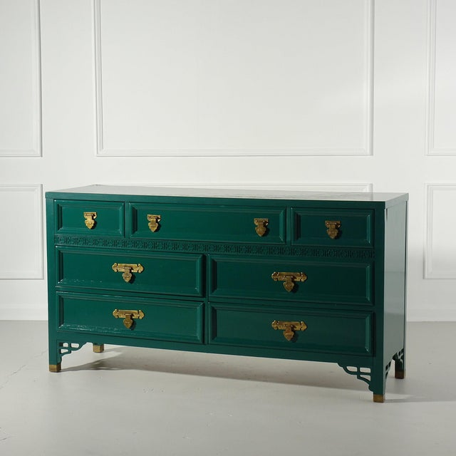 Shangri La Dresser by Dixie Lacquered Ben Moore Ocean Tropic For Sale - Image 9 of 9