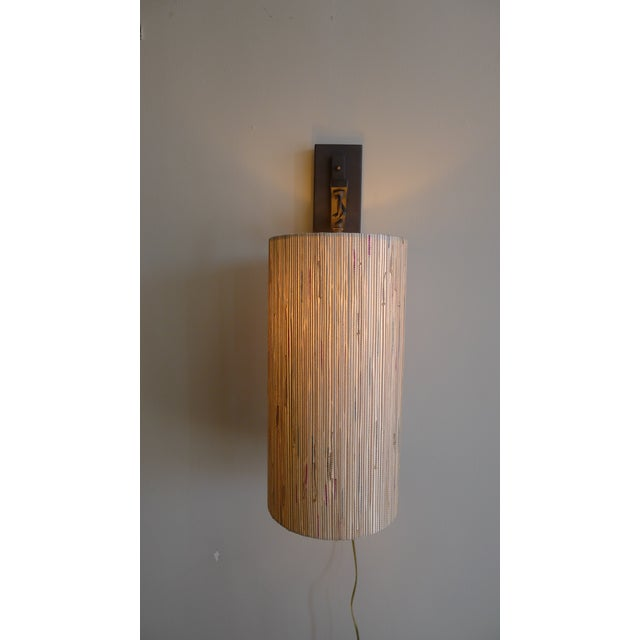 Modern Sconce with Custom Grasscloth Shade For Sale - Image 5 of 9