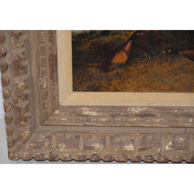 Pair of Early 20th C. Pheasant Hunt Oil Paintings For Sale - Image 9 of 11