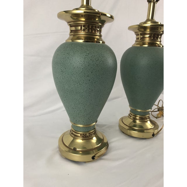 Jade Ethan Allen Jade Colored Greco Style Lamps - a Pair For Sale - Image 8 of 13