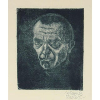 Secessionist Self-Portrait Etching on Paper With Green, Circa 1920 For Sale
