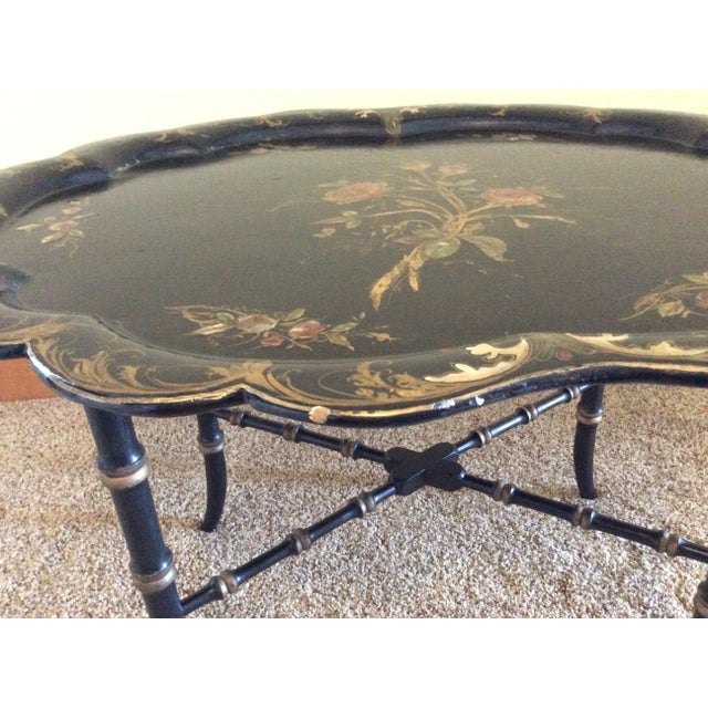 Late 19th Century Antique Chinoiserie Faux Bamboo Paper Mache Table With Mother of Pearl Inlay After Jennens and Betridge For Sale - Image 9 of 11