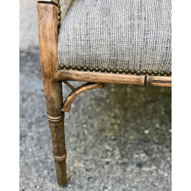 Bamboo Vintage Elm Carved Bamboo Style Linen Upholstered Chairs - a Pair For Sale - Image 7 of 11