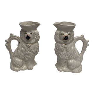 Antique English Staffordshire Spaniel Pitchers - a Pair For Sale