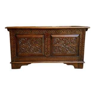 20th Century English Carved Oak Blanket Box Trunk Chest Toy Box Jacobean Coffee Table For Sale