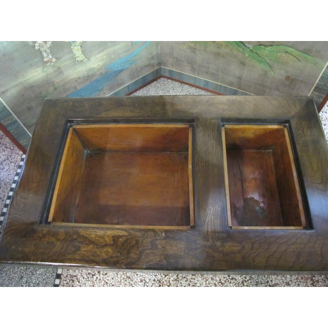 Japanese Dark Wood Grain Hibachi Coffee Table With Drawers For Sale - Image 4 of 11