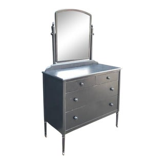 1930s Simmons Sheraton Line Machine Age Metal Dresser With Mirror on Casters For Sale