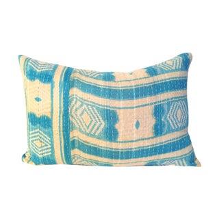 Aqua Kantha Quilt Pillow