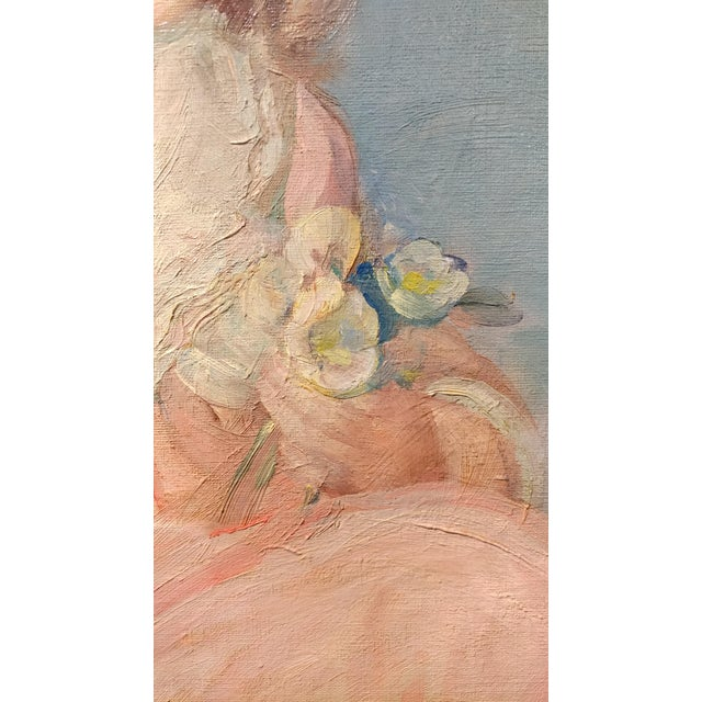 Oil Paint Olive Rush Portrait of Louise Block Oil Painting, C. 1900s For Sale - Image 7 of 10