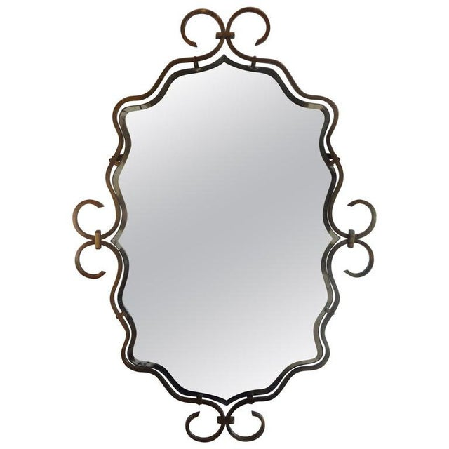 Metal French Art Deco Wrought Bronze Mirror in the Manner of Raymond Subes For Sale - Image 7 of 8