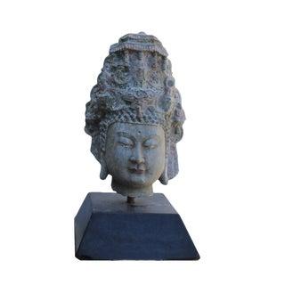Chinese Vintage Distressed Stone Kwan Yin Tara Bodhisattva Head Statue W Base