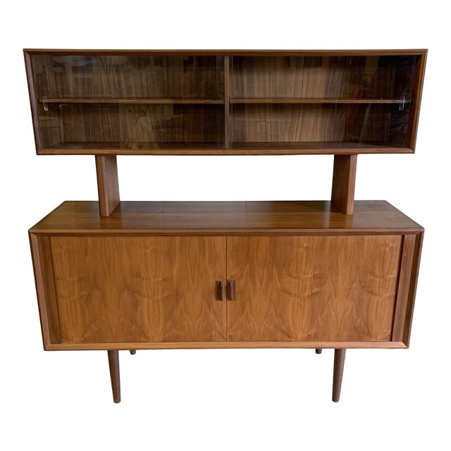 Svend Aage Larsen for Faarup Danish Modern Teak China Cabinet Bookcase Credenza For Sale