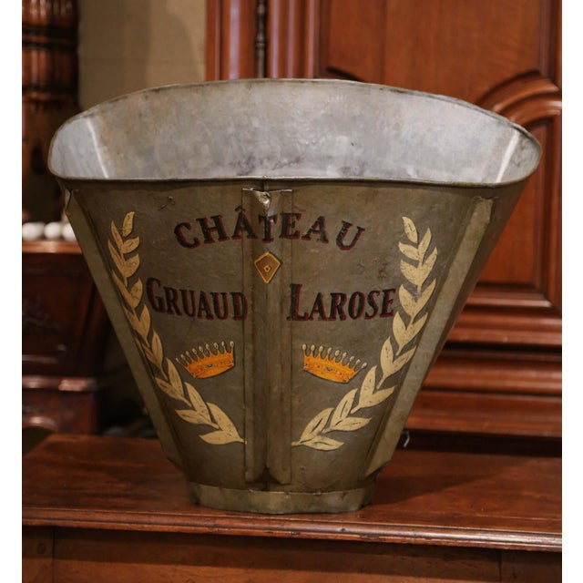 19th Century French Hand Painted Tole Grape Basket From Bordeaux For Sale - Image 4 of 9