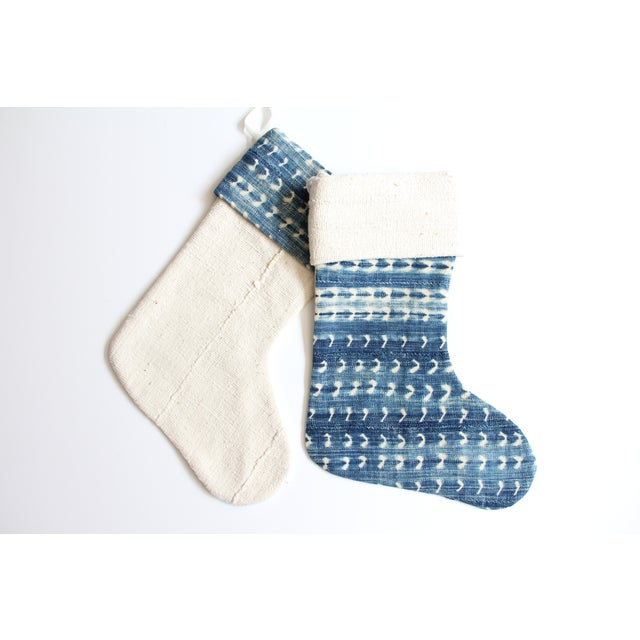 Vintage Indigo and Mudcloth Christmas Stocking - Image 4 of 6