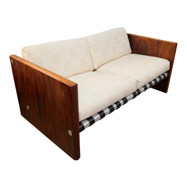 Milo Baughman Sling Sofa in Rosewood For Sale
