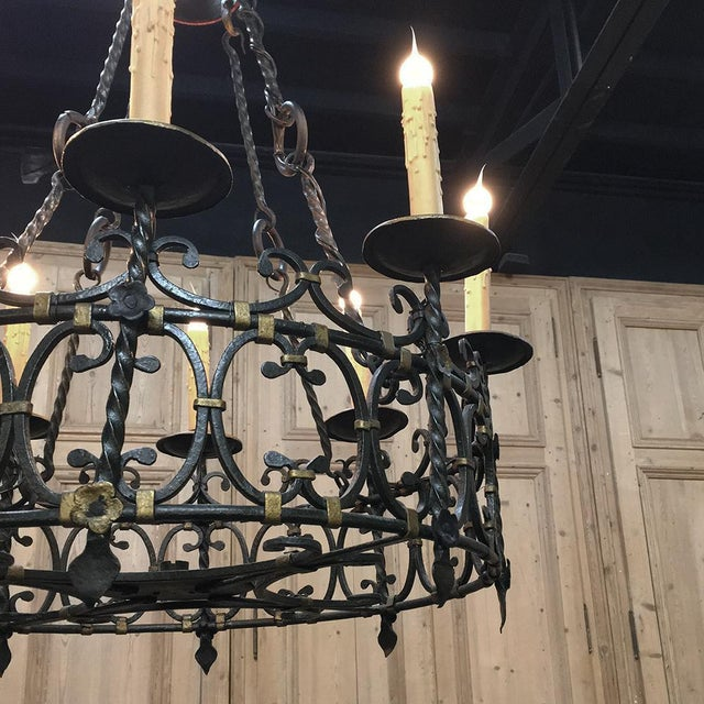 Metal Antique Country French Wrought Iron Chandelier For Sale - Image 7 of 11