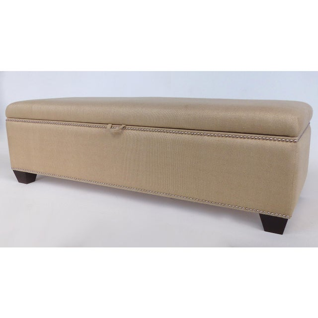 Modern Upholstered Blanket Chest Bench With Nail-Head Details For Sale - Image 3 of 8