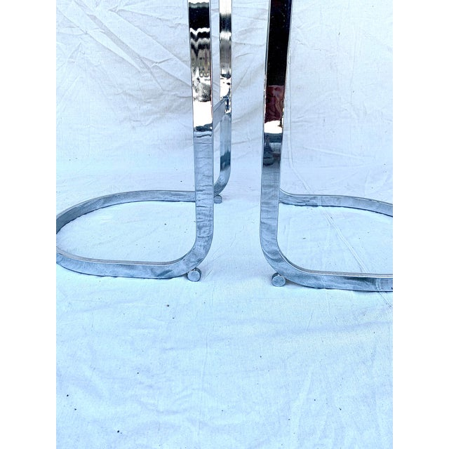 Cantilevered Baughman-Style Bar Stools - a Pair For Sale In Tampa - Image 6 of 8