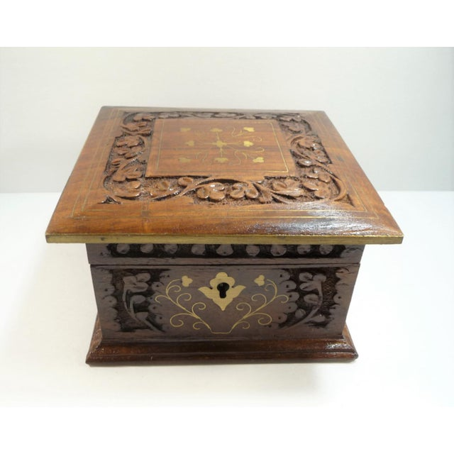 Vintage Moroccan Style Hand Carved Inlay Wood Box W Key - Image 3 of 11