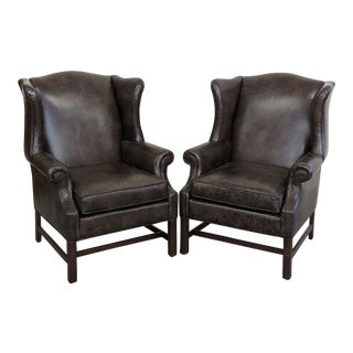 Pair of Ethan Allen Leather Wingback Chairs For Sale